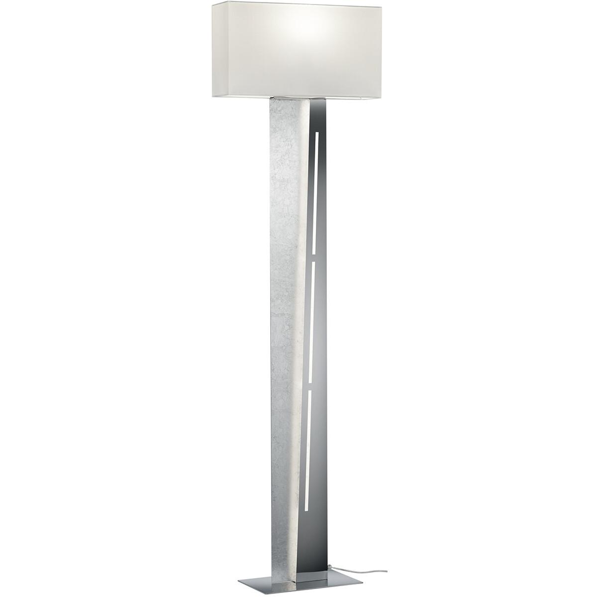 LED Vloerlamp - Trion Nesta - E27 Fitting - 13W - Warm Wit 3000K - Rond - Mat Zilver - Aluminium