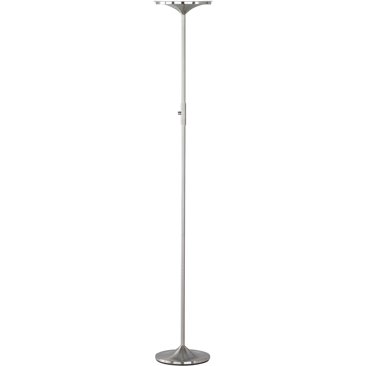 LED Vloerlamp - Trion Oringa - 20W - Warm Wit 3000K - Dimbaar - Rond - Mat Nikkel - Aluminium