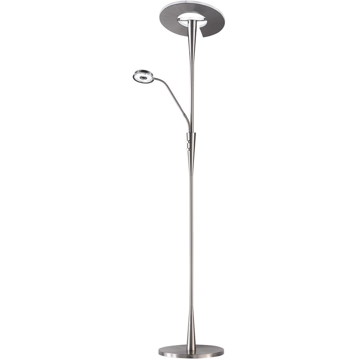 LED Vloerlamp - Trion Qubico - 34W + 5W - Aanpasbare Kleur - 2-lichts - Dimbaar - Rond - Mat Goud -