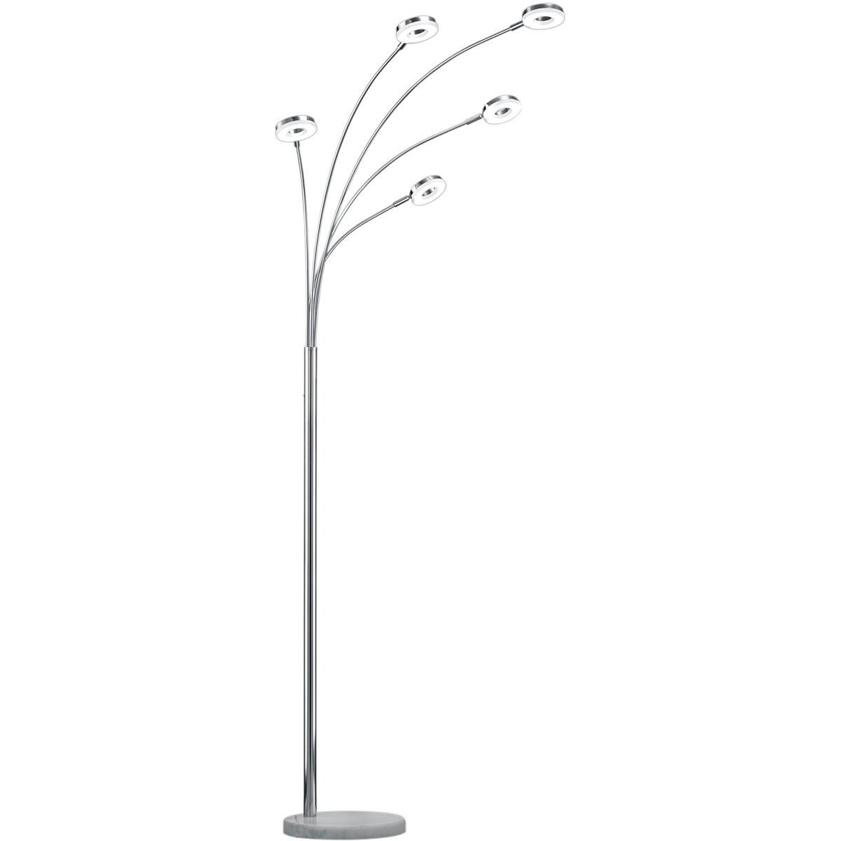 LED Vloerlamp - Trion Renny - 20W - Warm Wit 3000K - Rond - Mat Chroom - Aluminium