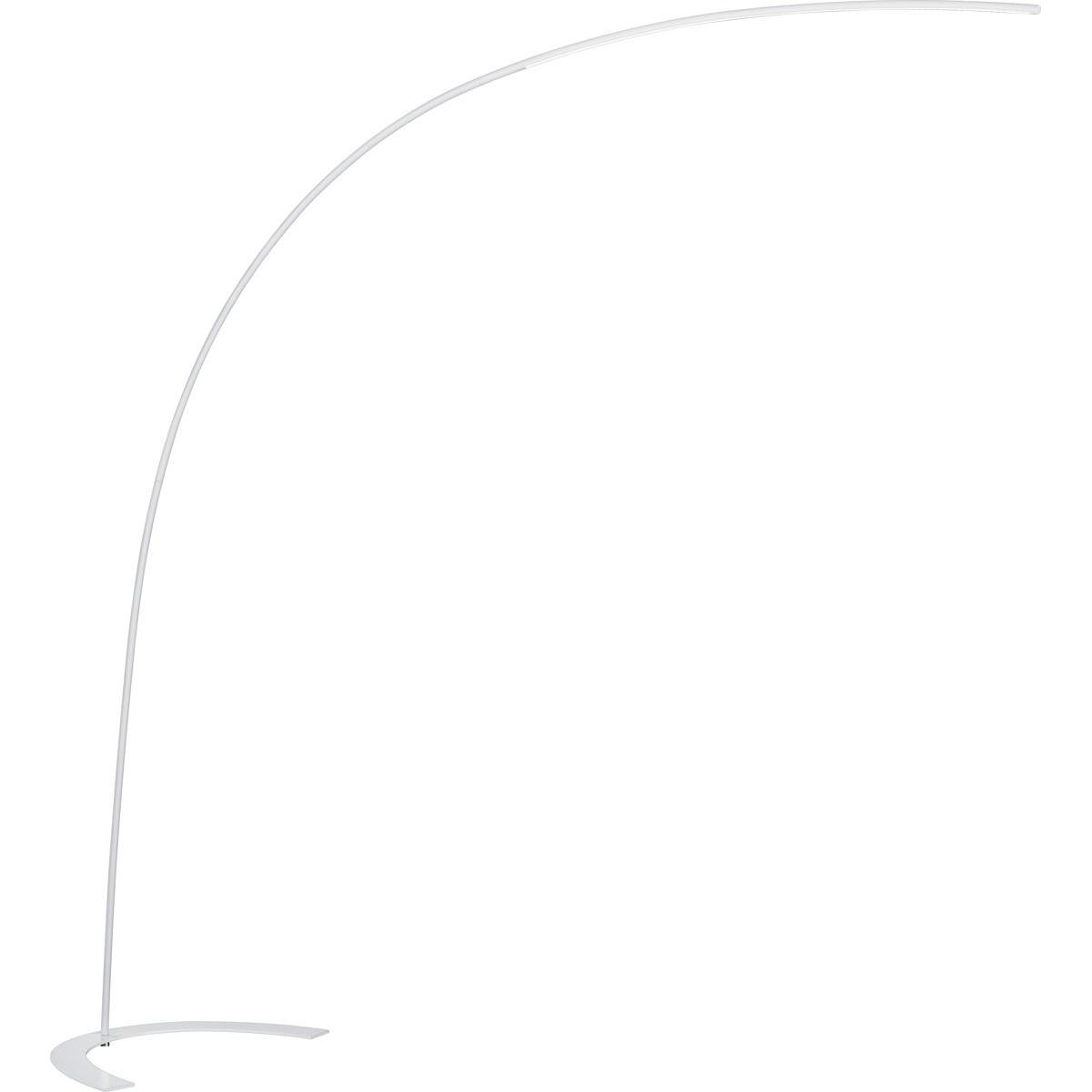 LED Vloerlamp - Trion Shio - 18W - Warm Wit 3000K - 1-lichts - Dimbaar - Rond - Mat Wit - Aluminium