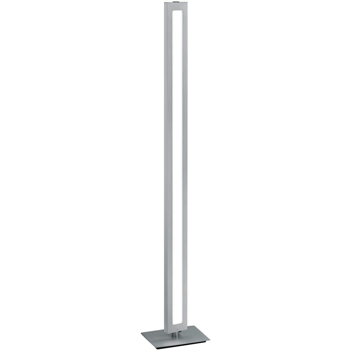 LED Vloerlamp - Trion Sinas - 20W - Warm Wit 3000K - Dimbaar - Rechthoek - Mat Grijs - Aluminium