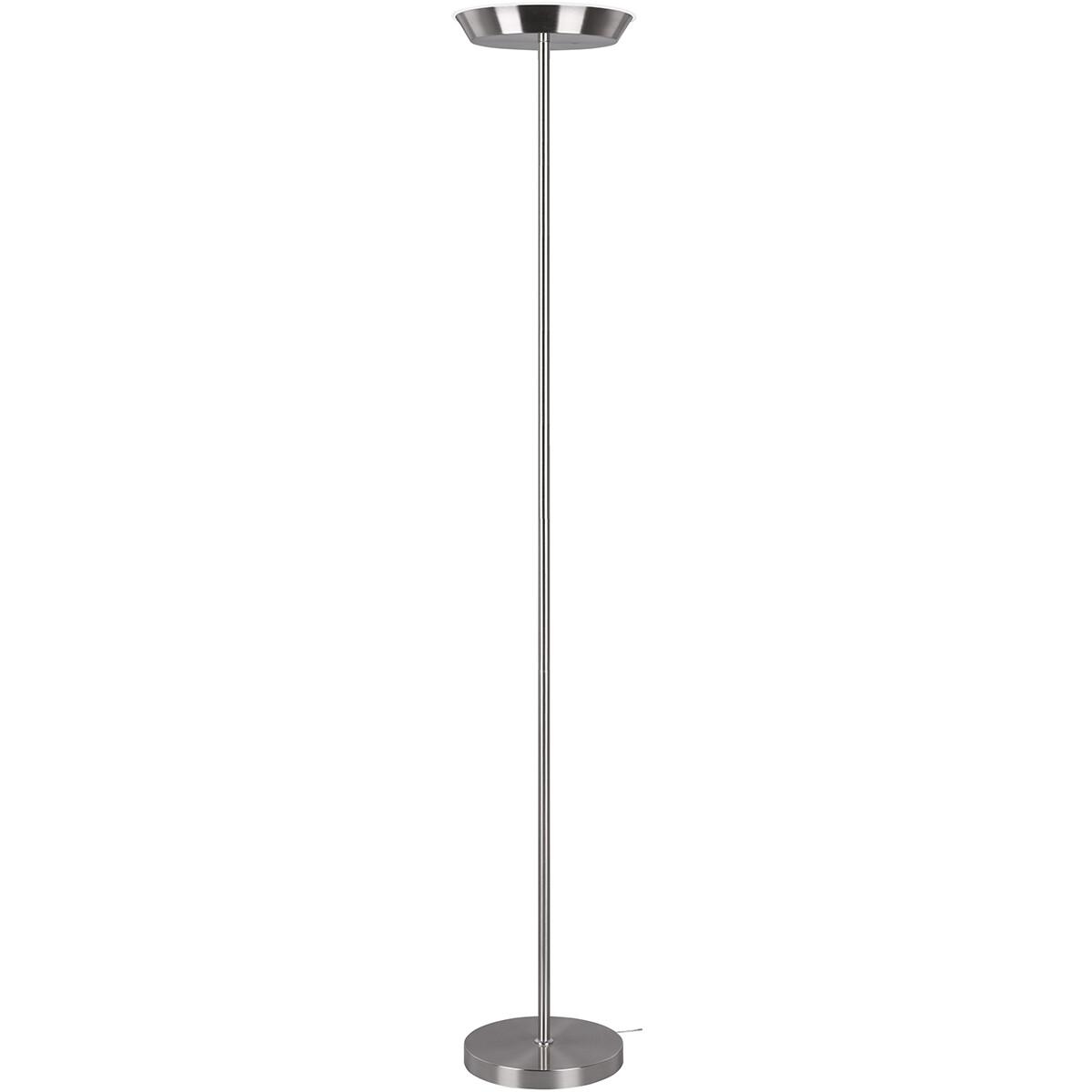 LED Vloerlamp WiZ - Smart LED - Trion Swani - 18W - Aanpasbare Kleur - Dimbaar - Rond - Mat Nikkel -