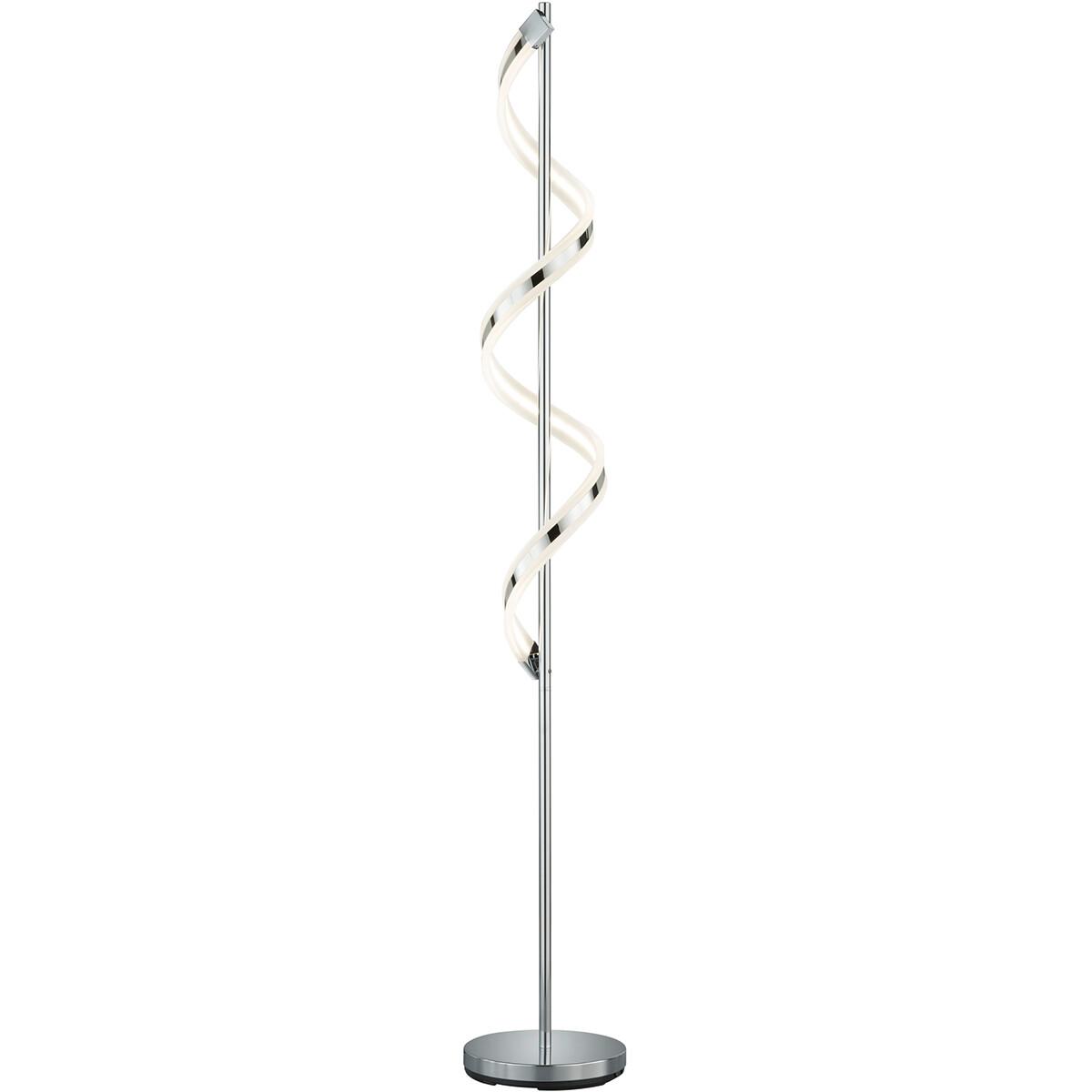 LED Vloerlamp - Trion Syndi - 20W - Warm Wit 3000K - Dimbaar - Rond - Mat Chroom - Aluminium