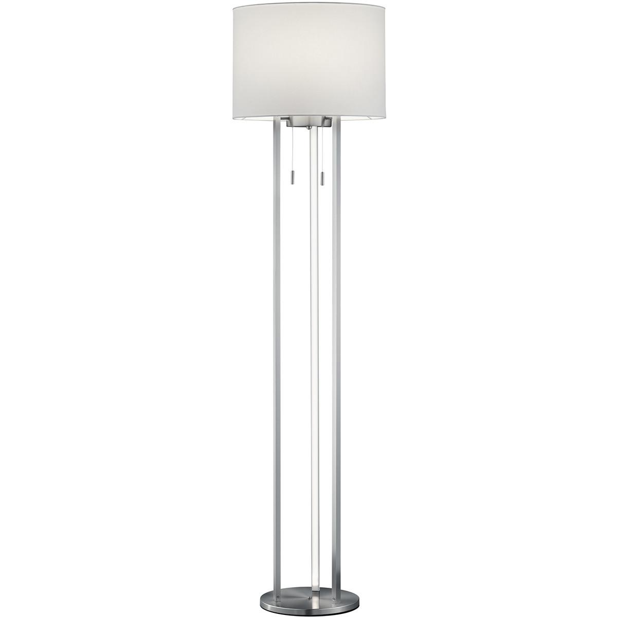 LED Vloerlamp - Trion Tondira - 15W - Warm Wit 3000K - E27 Fitting - 4-lichts - Rond - Mat Nikkel -