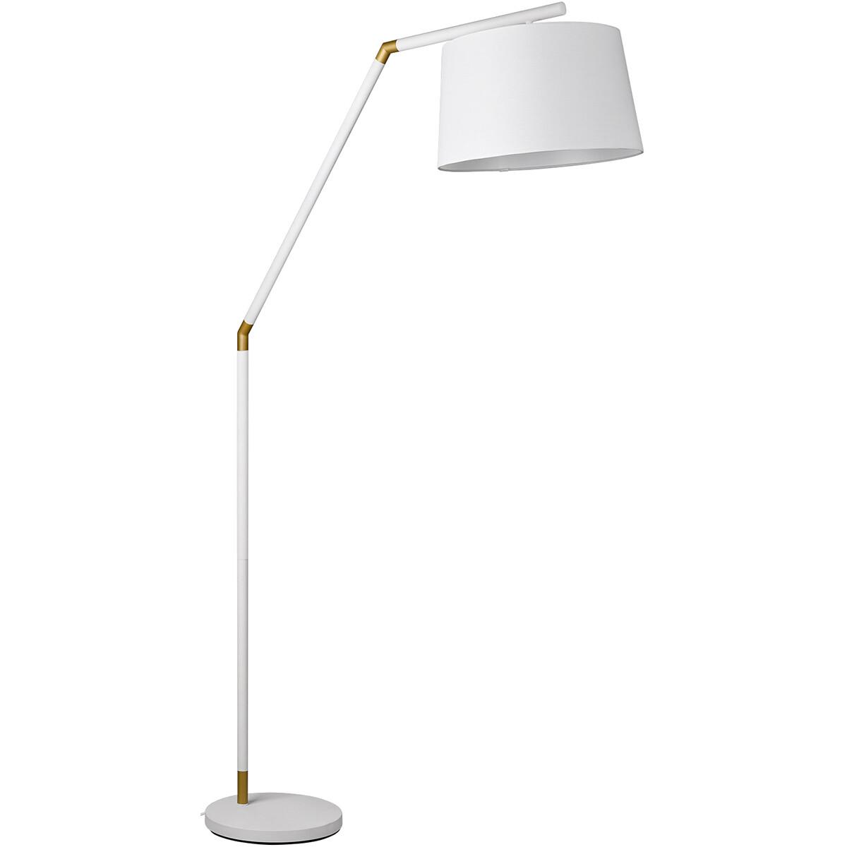 LED Vloerlamp - Trion Tryca - E27 Fitting - Rond - Mat Wit - Aluminium