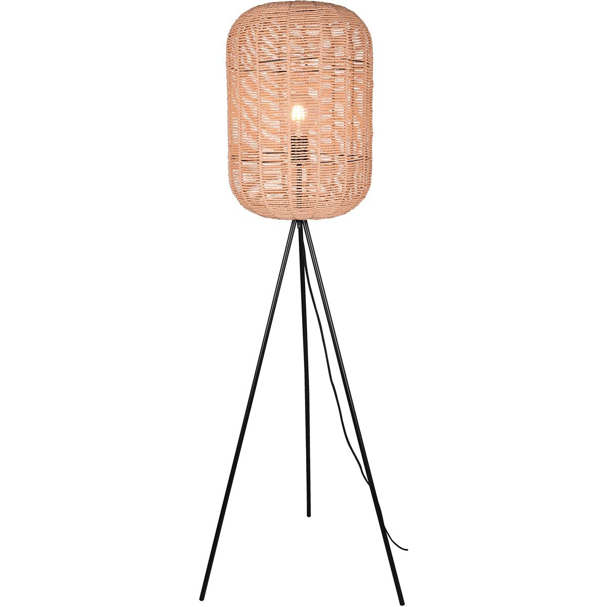 LED Vloerlamp - Trion Tuna - E27 Fitting - Rond - Mat Nikkel - Aluminium