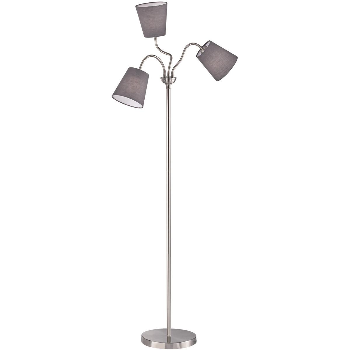 LED Vloerlamp - Trion Winduani - E27 Fitting - 3-lichts - Rond - Mat Grijs - Aluminium