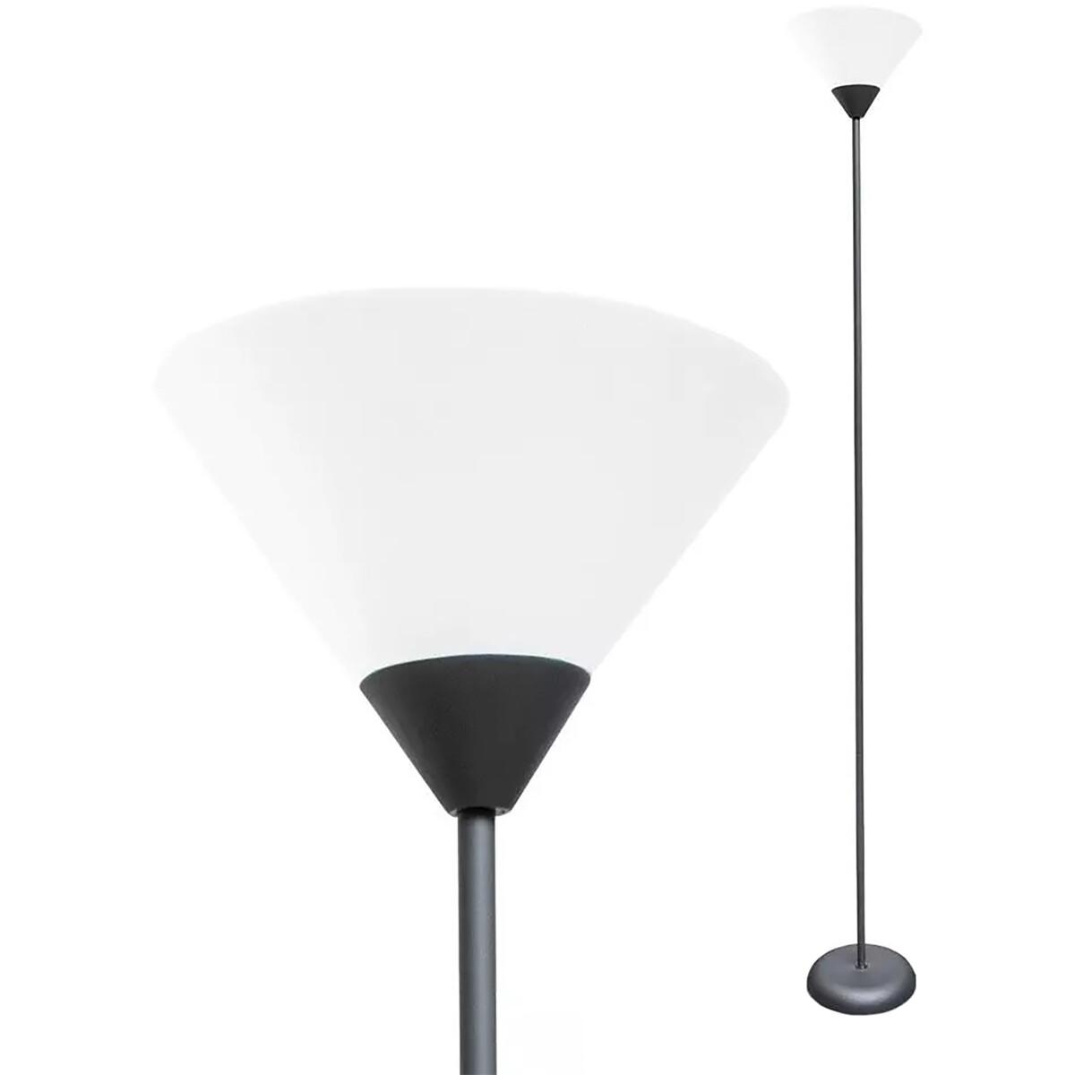 LED Vloerlamp - Viron Askon - E27 Fitting - Rond - Mat Zwart - Kunststof