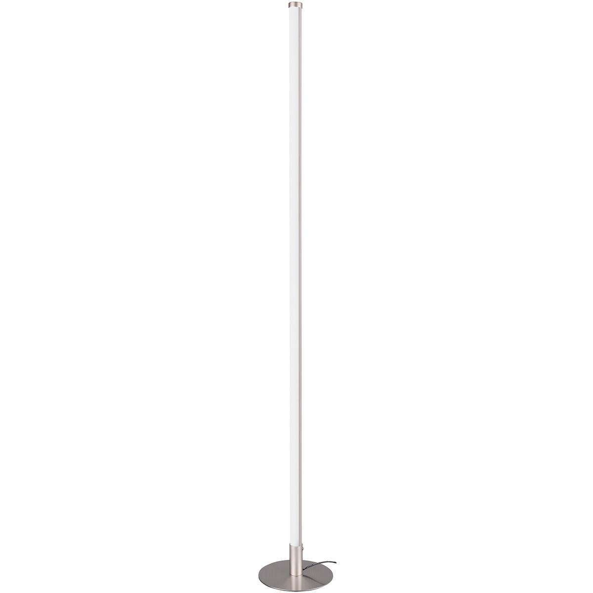 LED Vloerlamp WiZ - Smart LED - Trion Samada - 6W - Aanpasbare Kleur - Dimbaar - Rond - Mat Nikkel -