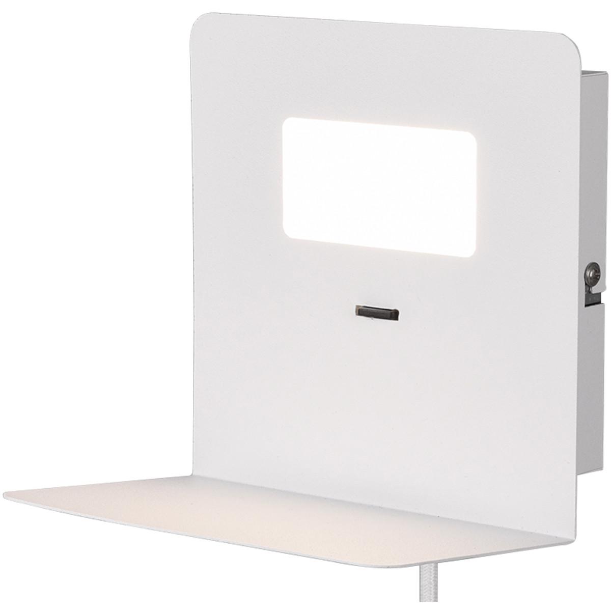 LED Wandlamp - Trion Alinoft - 3W - Warm Wit 3000K - USB Oplaadfunctie - Mat Wit - Aluminium