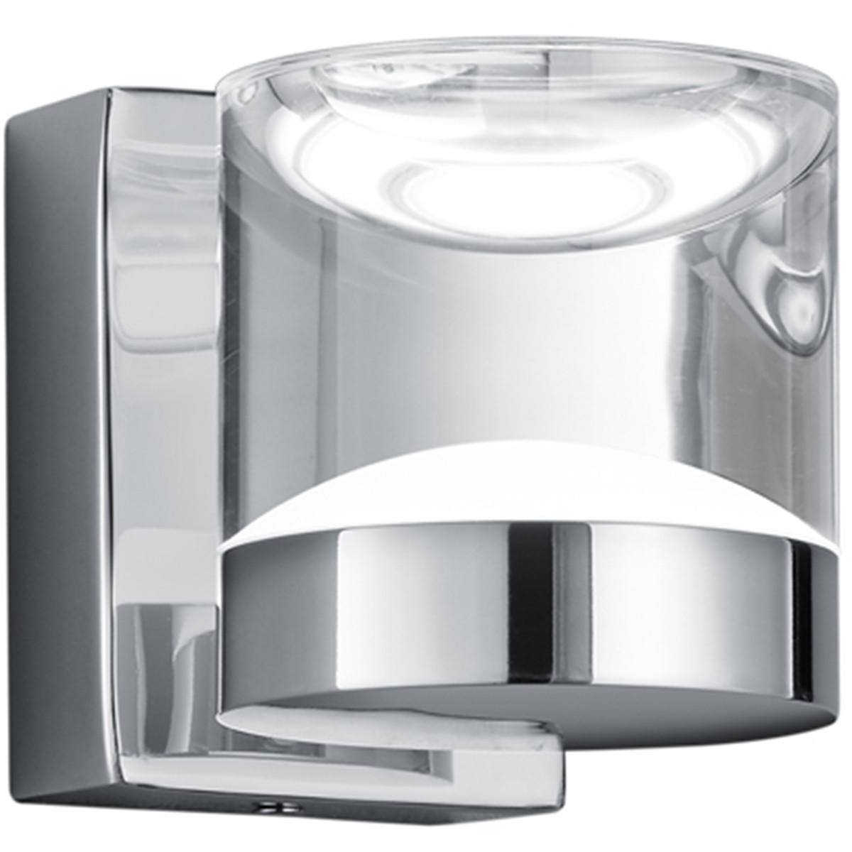LED Wandlamp - Trion Brino - 3W - Warm Wit 3000K - 1-lichts - Rond - Glans Chroom - Aluminium