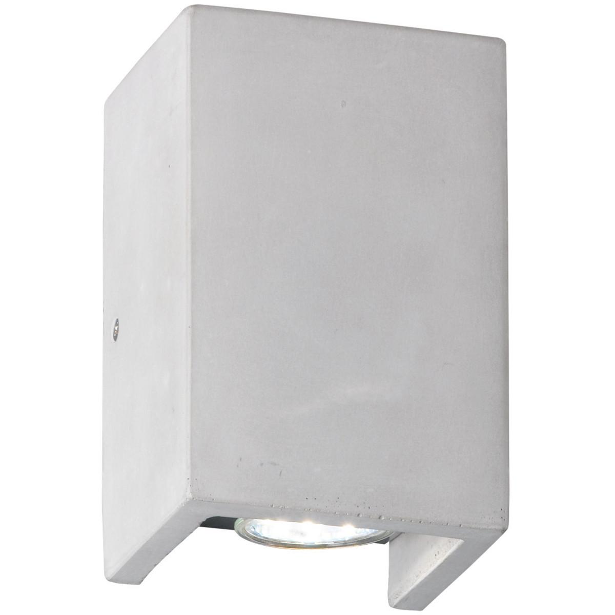 LED Wandlamp - Wandverlichting - Trion Cubin - GU10 Fitting - Rechthoek - Beton Look - Beton