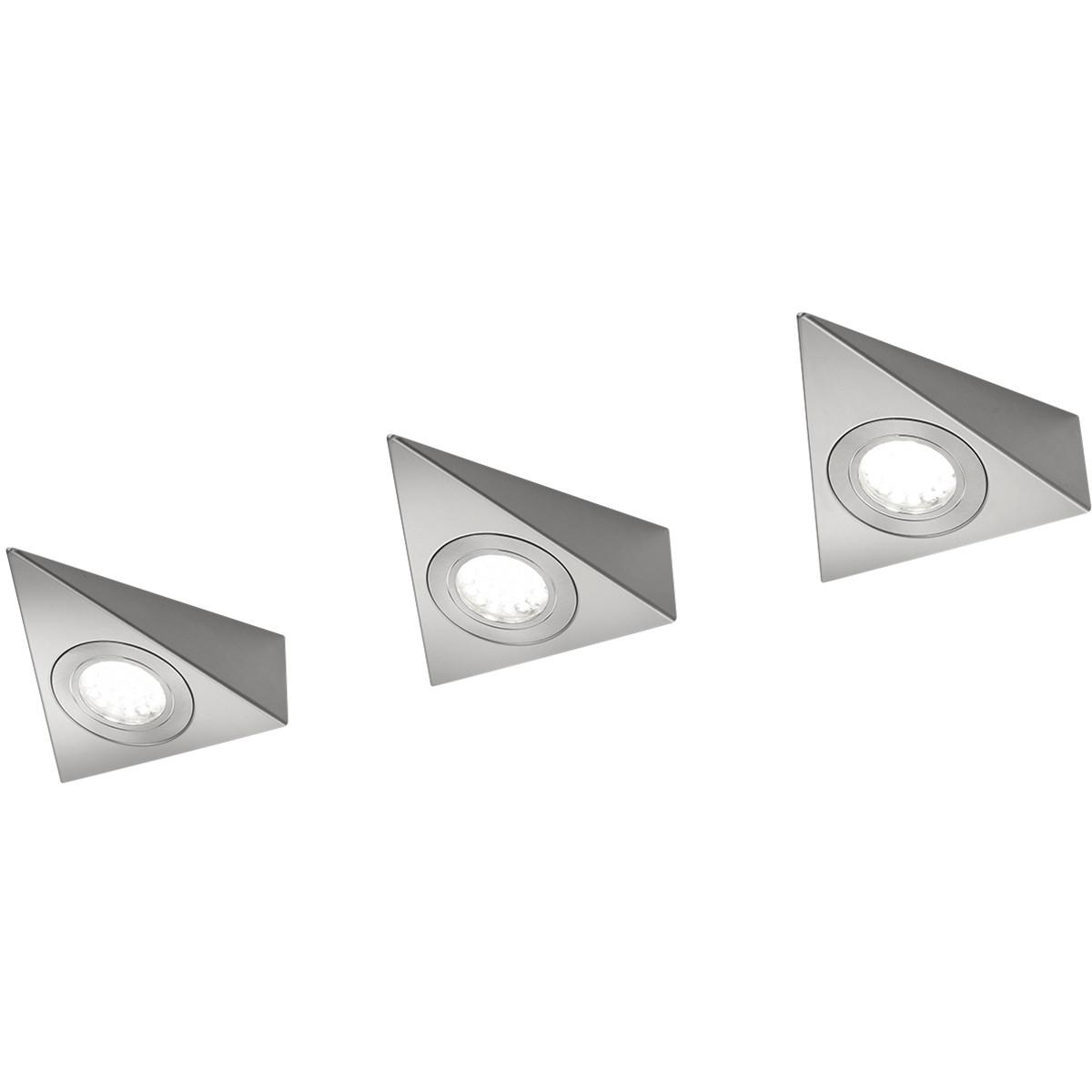 LED Keukenkast Verlichting - Trion Ecoli - 9W - 3-lichts - Warm Wit 3000K - Driehoek - Mat Nikkel -
