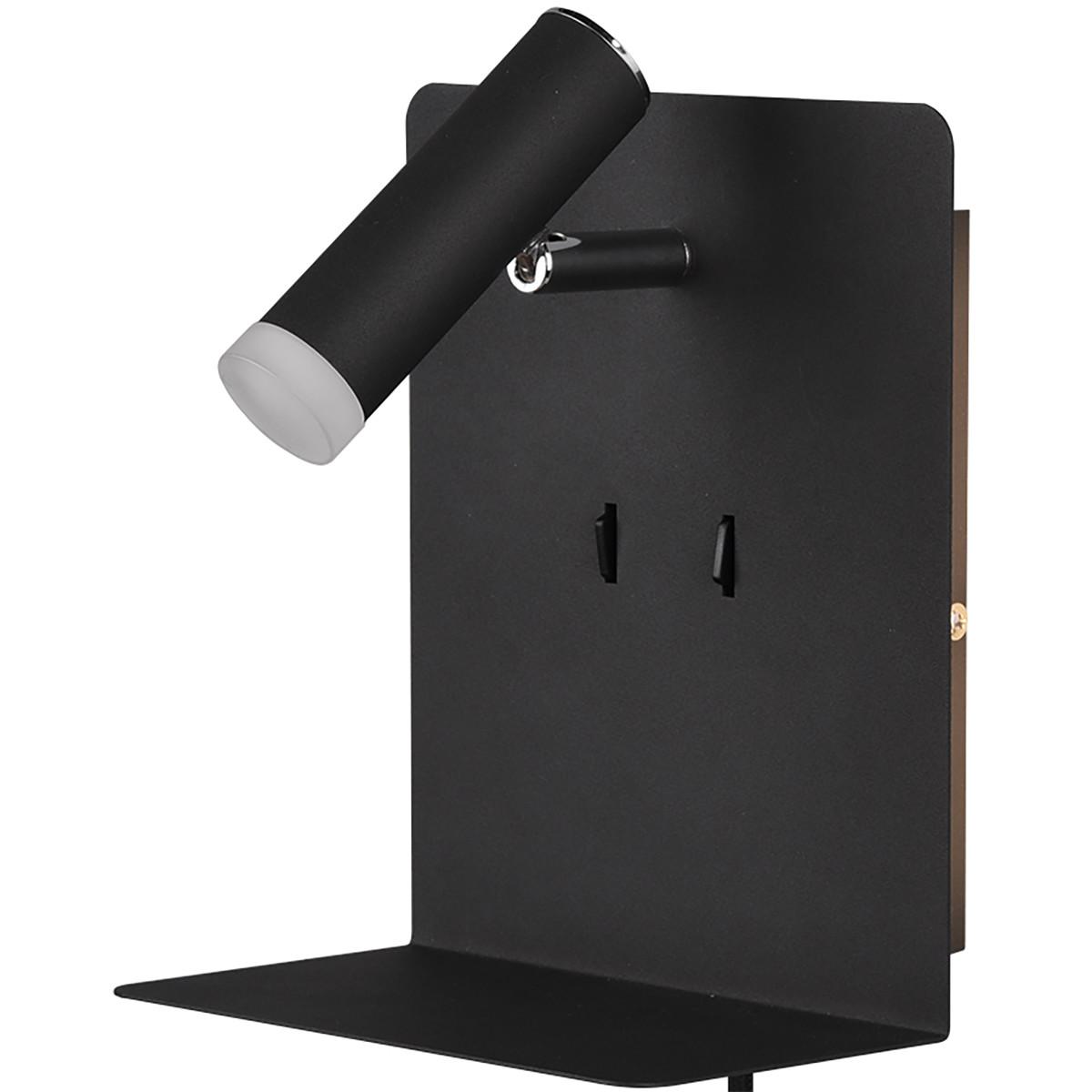 LED Wandlamp - Trion Elonant - 6W - Warm Wit 3000K - USB Oplaadfunctie - Mat Zwart - Aluminium