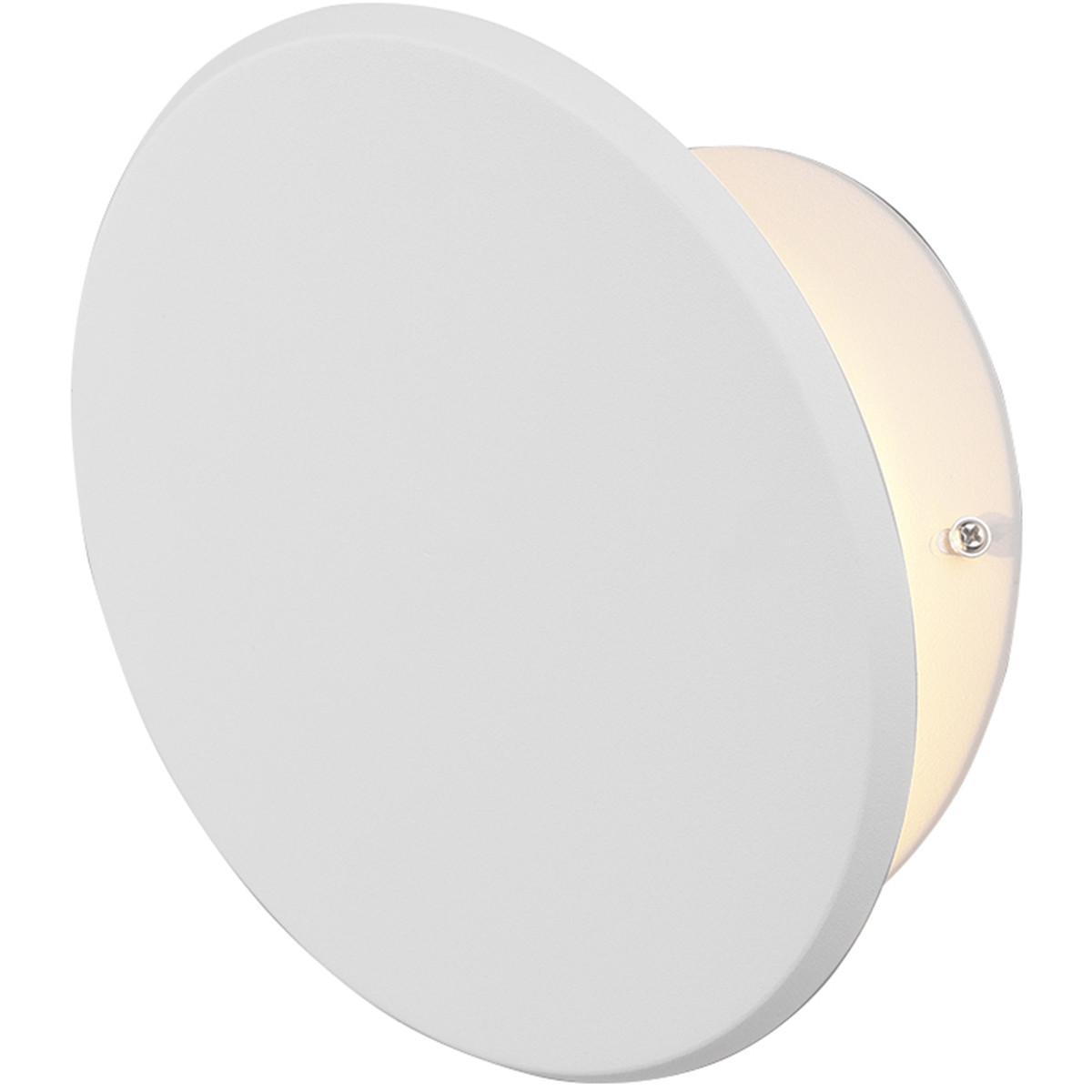 LED Wandlamp - Trion Gasin - 8W - Warm Wit 3000K - Rond - Mat Wit - Aluminium