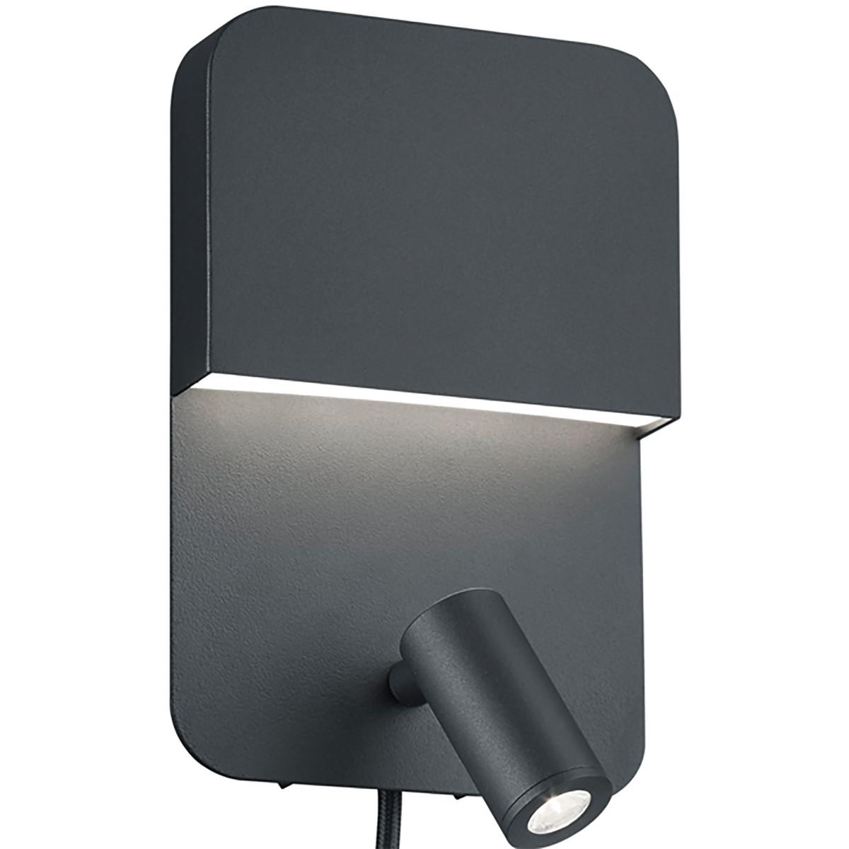 LED Wandlamp - Trion Liona - 7W - Warm Wit 3000K - Rechthoek - Mat Zwart - Alumi