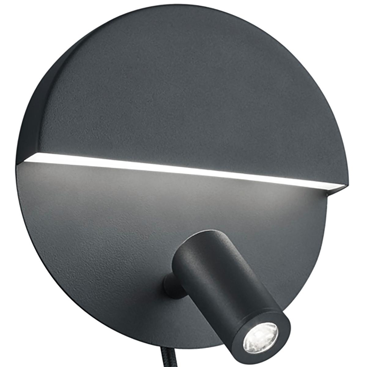 LED Wandlamp - Trion Marano - 8W - Warm Wit 3000K - Rond - Mat Zwart - Aluminium