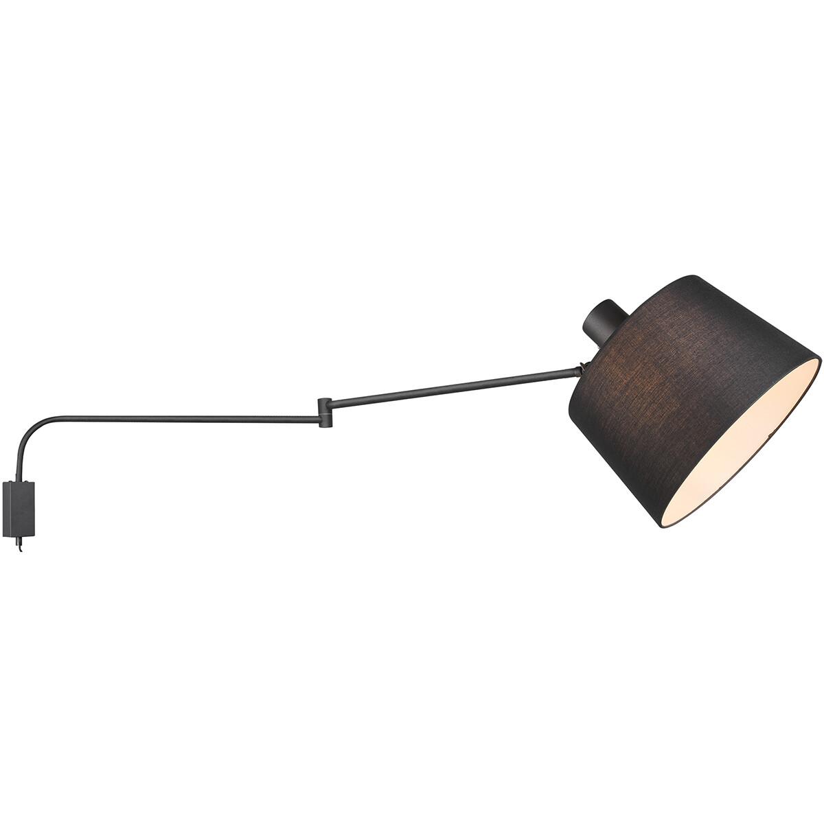 LED Wandlamp - Wandverlichting - Trion Badi - E27 Fitting - Rond - Mat Zwart - Aluminium