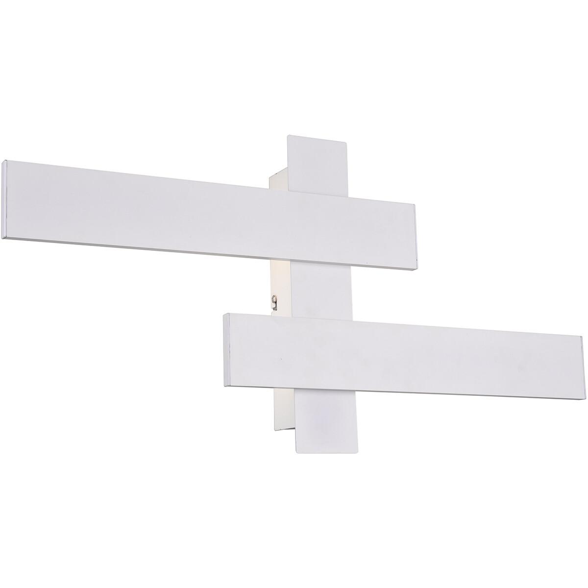 LED Wandlamp - Wandverlichting - Trion Balfy - 20W - Natuurlijk Wit 4000K - Rechthoek - Mat Wit - Al