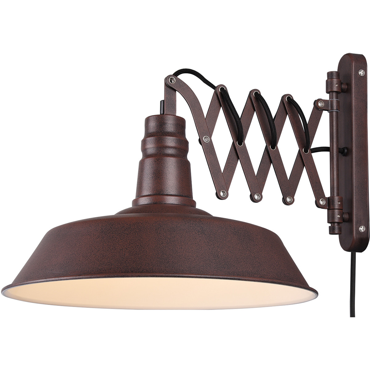 LED Wandlamp - Wandverlichting - Trion Detrino - E27 Fitting - Rond - Roestkleur - Aluminium