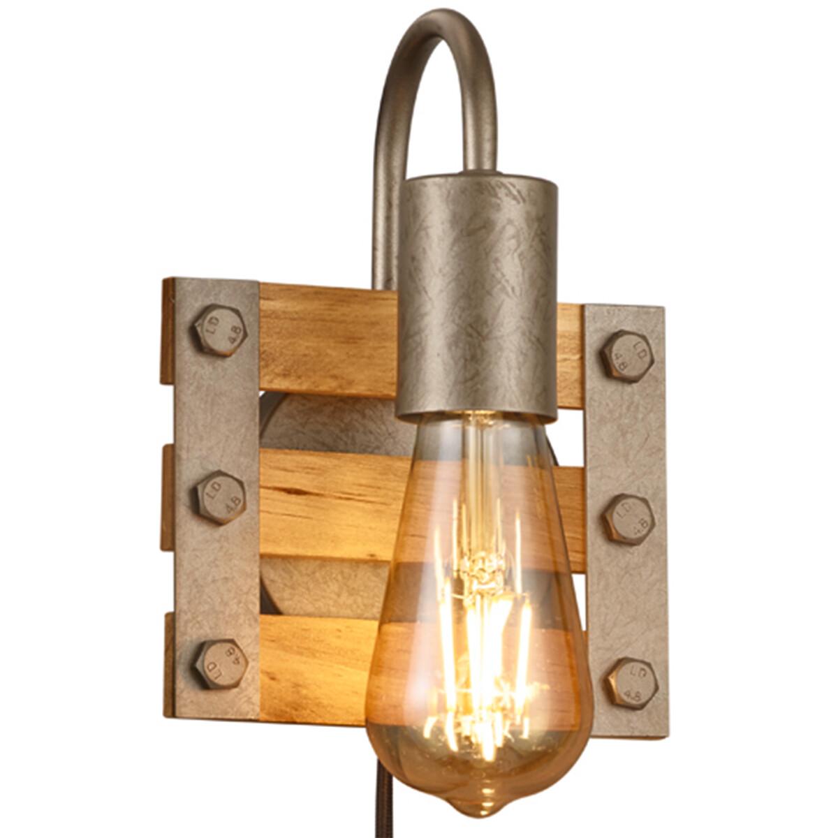 LED Wandlamp - Wandverlichting - Trion Khon - E27 Fitting - 1-lichts - Vierkant - Mat Nikkel - Alumi