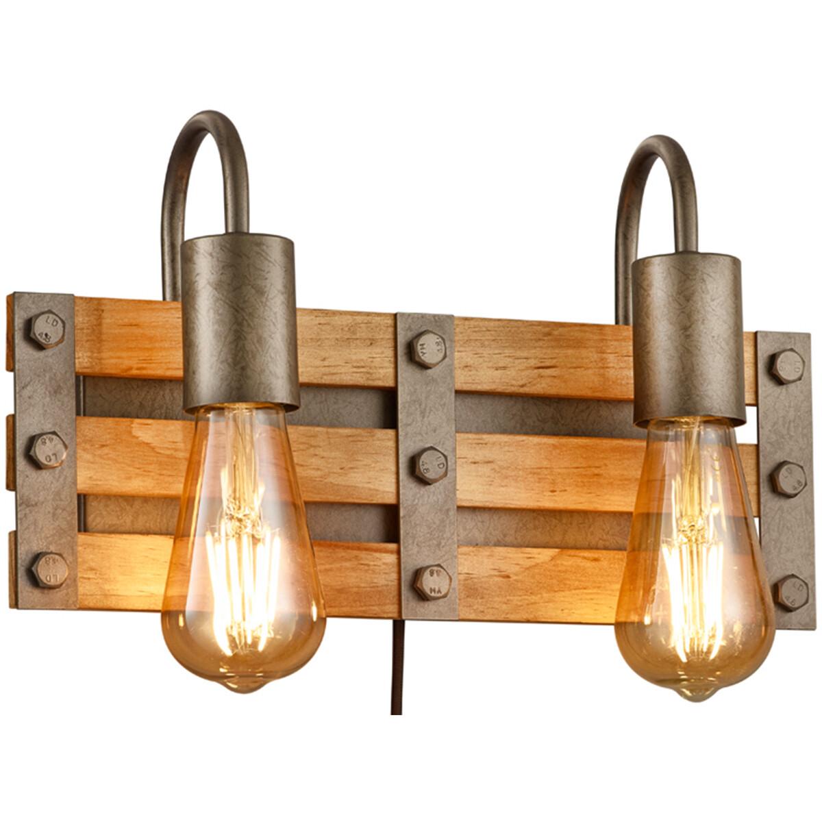 LED Wandlamp - Wandverlichting - Trion Khon - E27 Fitting - 2-lichts - Rechthoek - Mat Nikkel - Alum