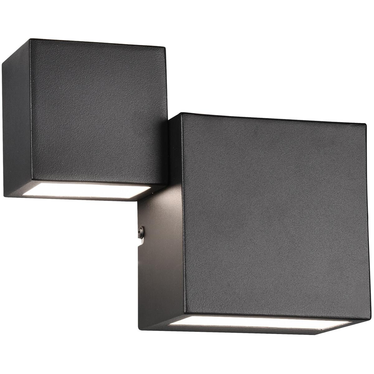 LED Wandlamp - Wandverlichting - Trion Migela - 12W - Warm Wit 3000K - Vierkant - Mat Zwart - Alumin