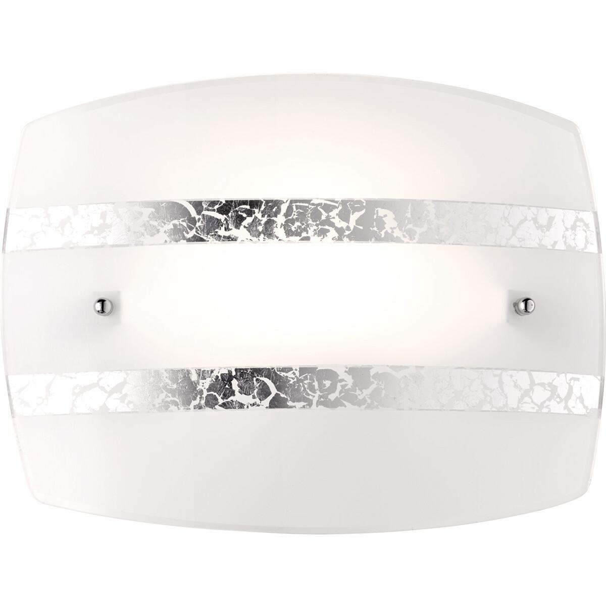 LED Wandlamp - Wandverlichting - Trion Niki - E27 Fitting - Rond - Mat Zilver - Glas