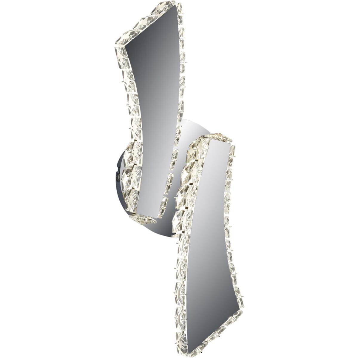 LED Wandlamp - Wandverlichting - Trion Pino - 30W - Aanpasbare Kleur - Rond - Mat Chroom - Aluminium