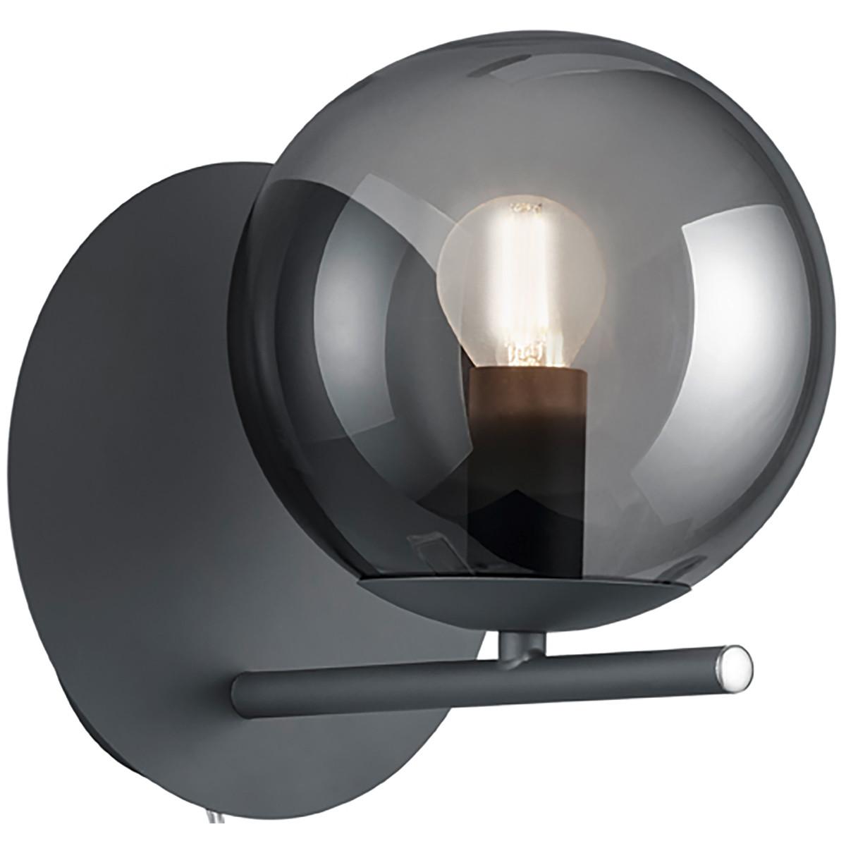 LED Wandlamp - Wandverlichting - Trion Pora - E14 Fitting - Rond - Mat Zwart - Aluminium