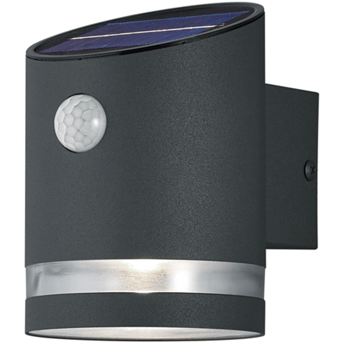 LED Tuinverlichting - Buitenlamp - Trion Salty - Wand - 3W - Warm Wit 3000K - Rond - Mat Zwart - RVS
