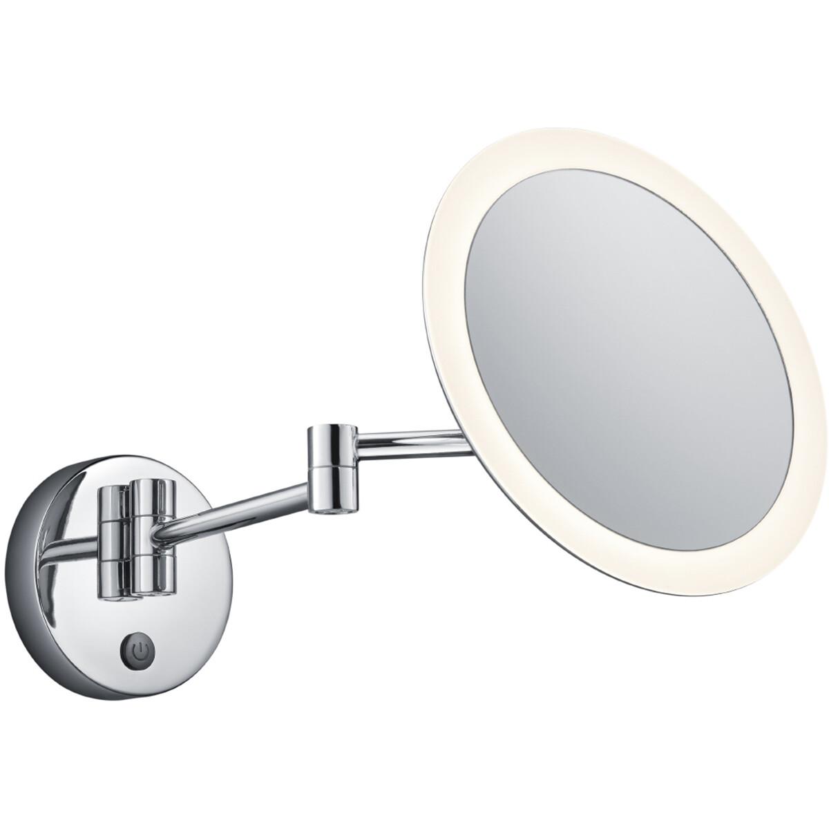 LED Make-up Spiegel - Scheerspiegel - Trion Vistas - Rond - 3x Vergroting - Aan/Uit Schakelaar - 3W