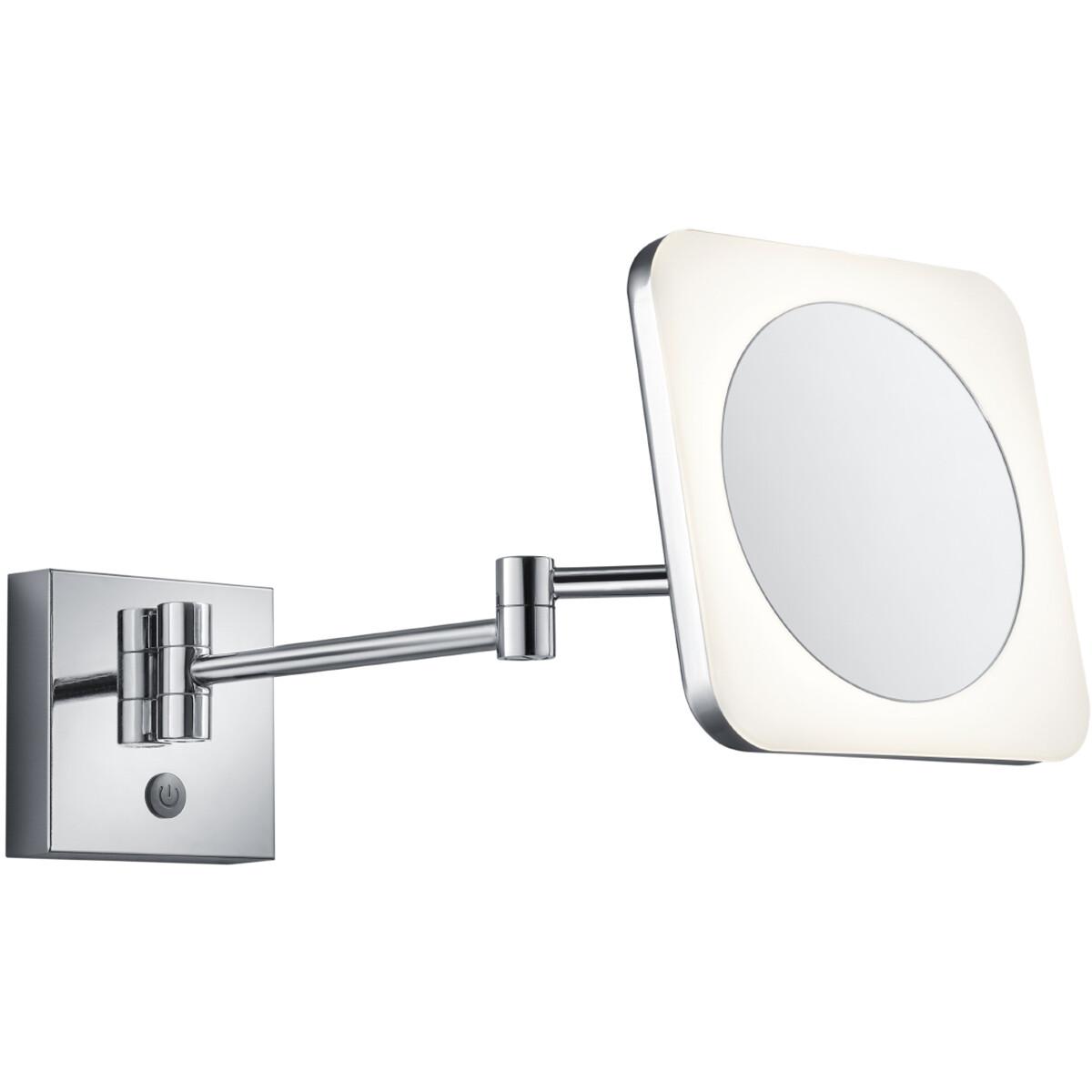 LED Make-up Spiegel - Scheerspiegel - Trion Vistas - Vierkant - 3x Vergroting - Aan/Uit Schakelaar -