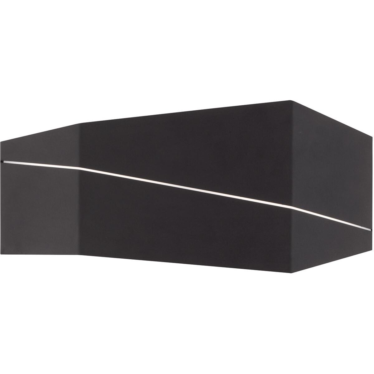 LED Wandlamp - Wandverlichting - Trion Zorran - 13W - Warm Wit 3000K - Rechthoek - Mat Zwart - Alumi
