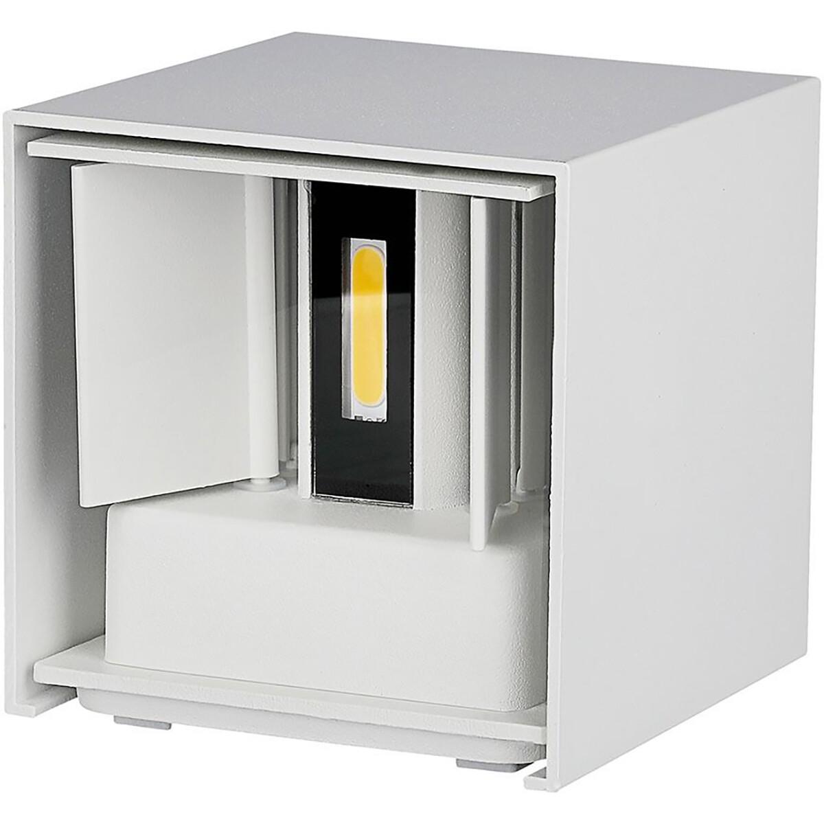 LED Tuinverlichting - Wandlamp - Viron Ultimo - 6W - Natuurlijk Wit 4000K - Vierkant - Mat Wit - Alu