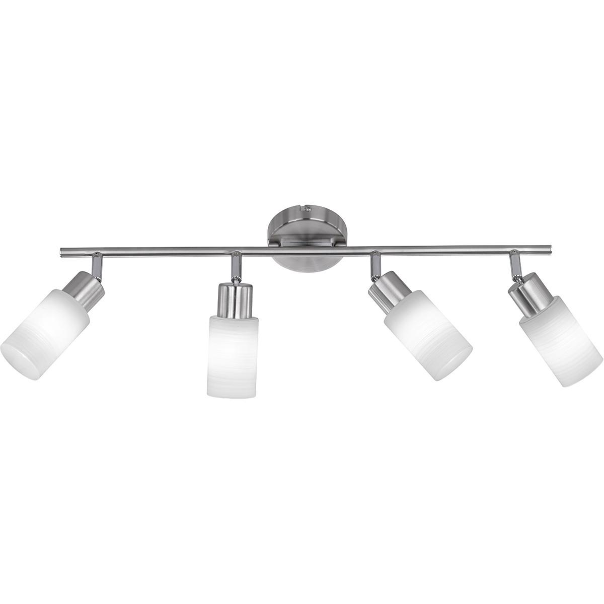 LED Plafondspot - Trion Jolin - E14 Fitting - 16W - Warm Wit 3000K - 4-lichts - Rond - Mat Nikkel -