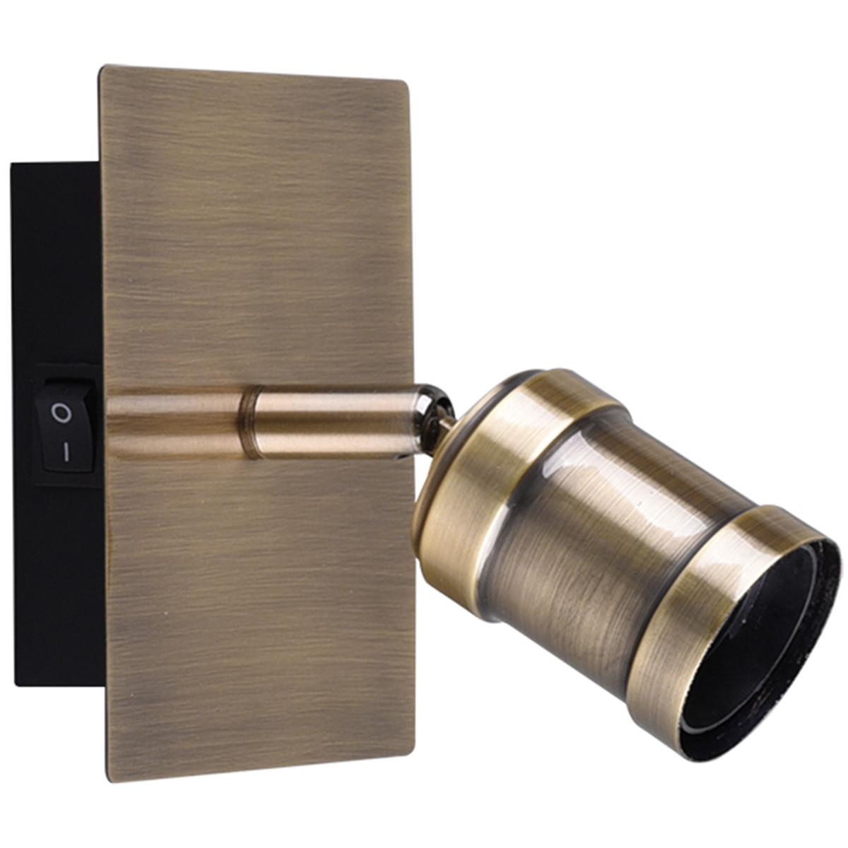 LED Wandspot - Trion Korli - E27 Fitting - 1-lichts - Rond - Mat Brons - Aluminium