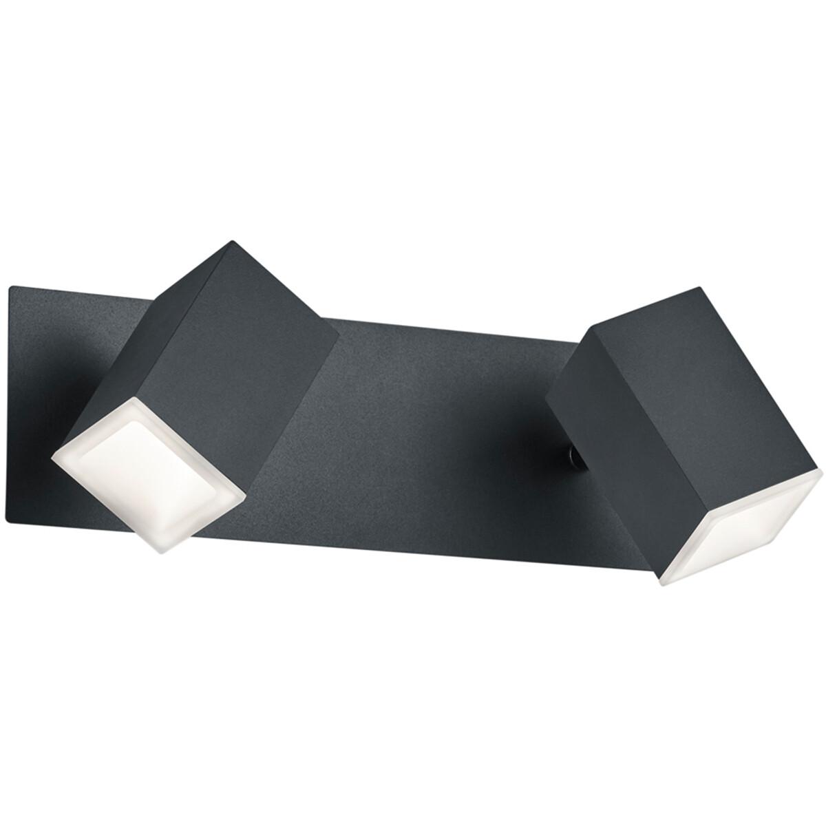LED Wandspot - Trion Laginos - 12W - Warm Wit 3000K - 2-lichts - Rechthoek - Mat Zwart - Aluminium