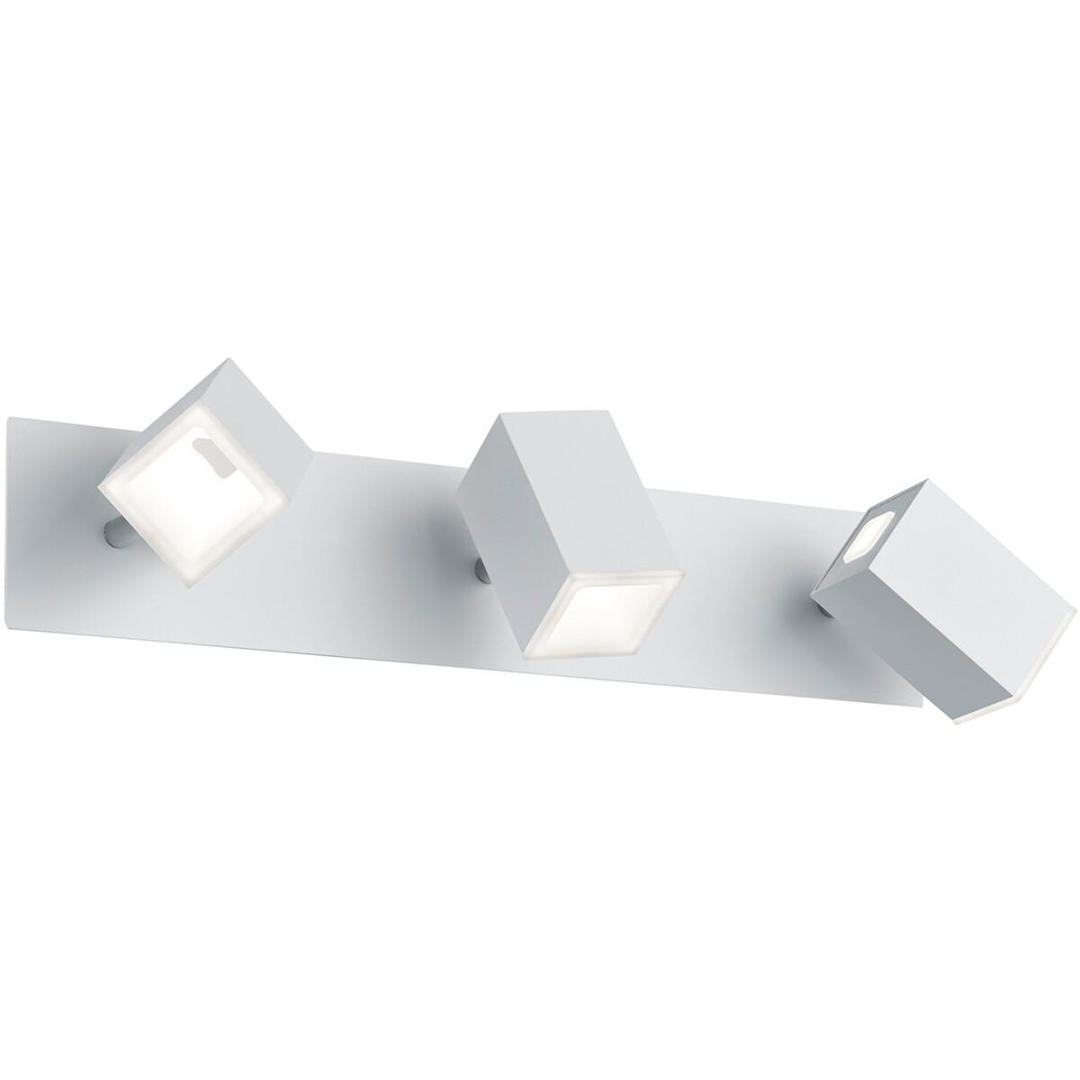LED Wandspot - Trion Laginos - 18W - Warm Wit 3000K - 3-lichts - Rechthoek - Mat Wit - Aluminium