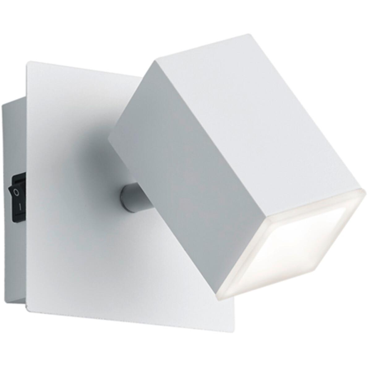 LED Wandspot - Trion Laginos - 8W - Warm Wit 3000K - 1-lichts - Vierkant - Mat Wit - Aluminium