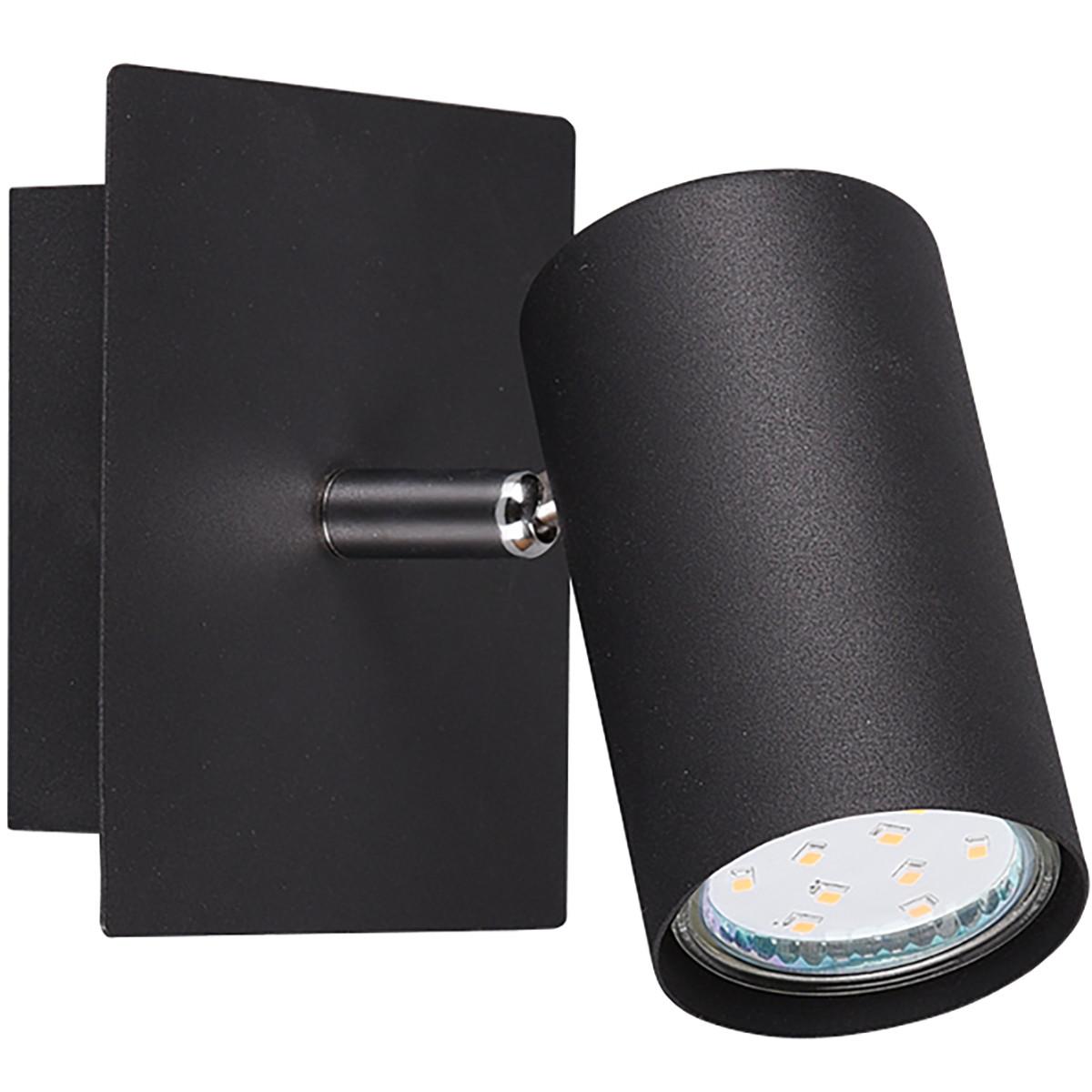 LED Wandspot - Trion Mary - GU10 Fitting - Rond - Mat Zwart - Aluminium