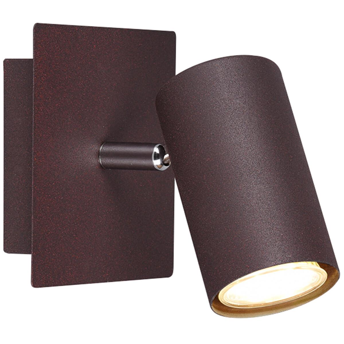 LED Wandspot - Trion Mary - GU10 Fitting - Vierkant - Roestkleur - Aluminium