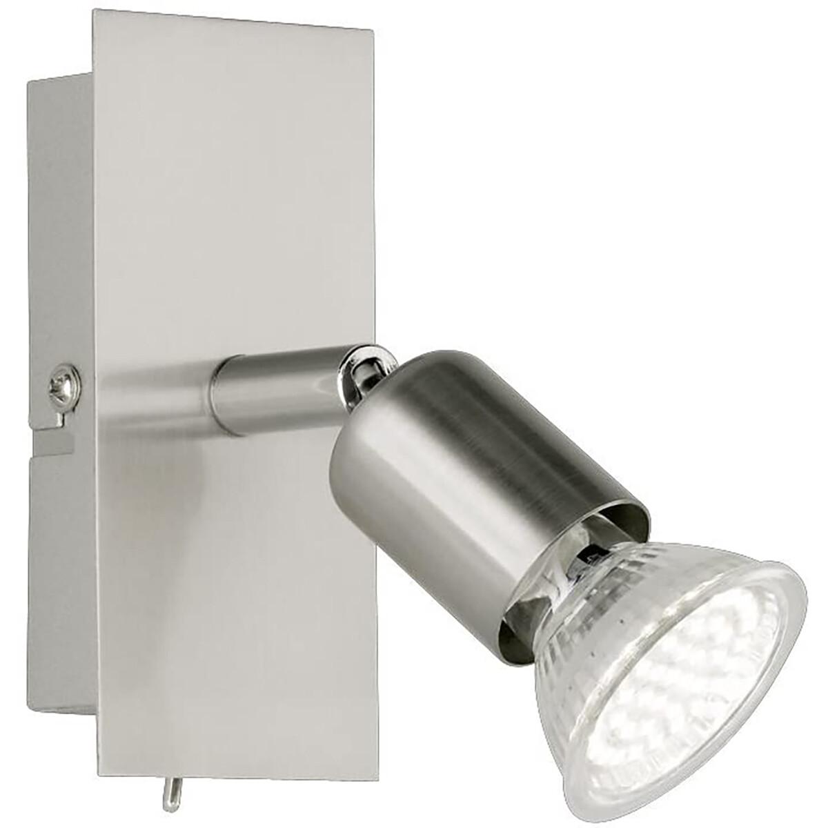 LED Wandspot - Trion Nimo - GU10 Fitting - 3W - Warm Wit 3000K - 1-lichts - Rechthoek - Mat Nikkel -