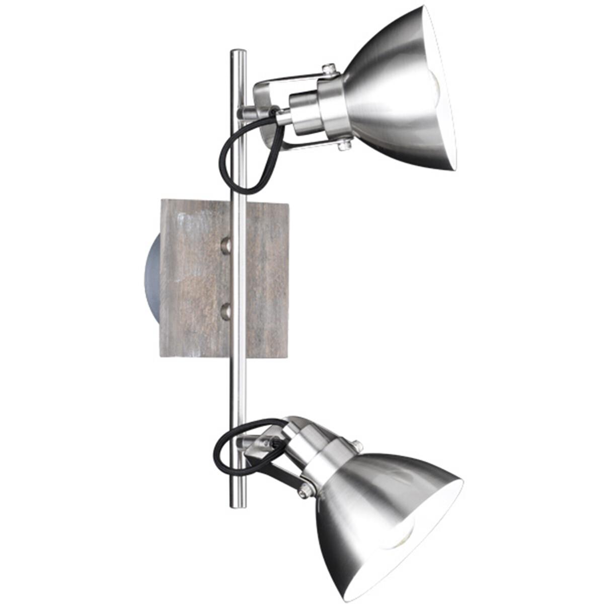 LED Wandspot - Trion Timbo - E14 Fitting - 2-lichts - Rechthoek - Houtkleur - Aluminium