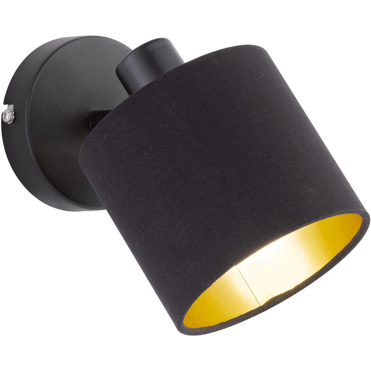 LED Wandspot - Trion Torry - E14 Fitting - Rond - Mat Zwart - Aluminium