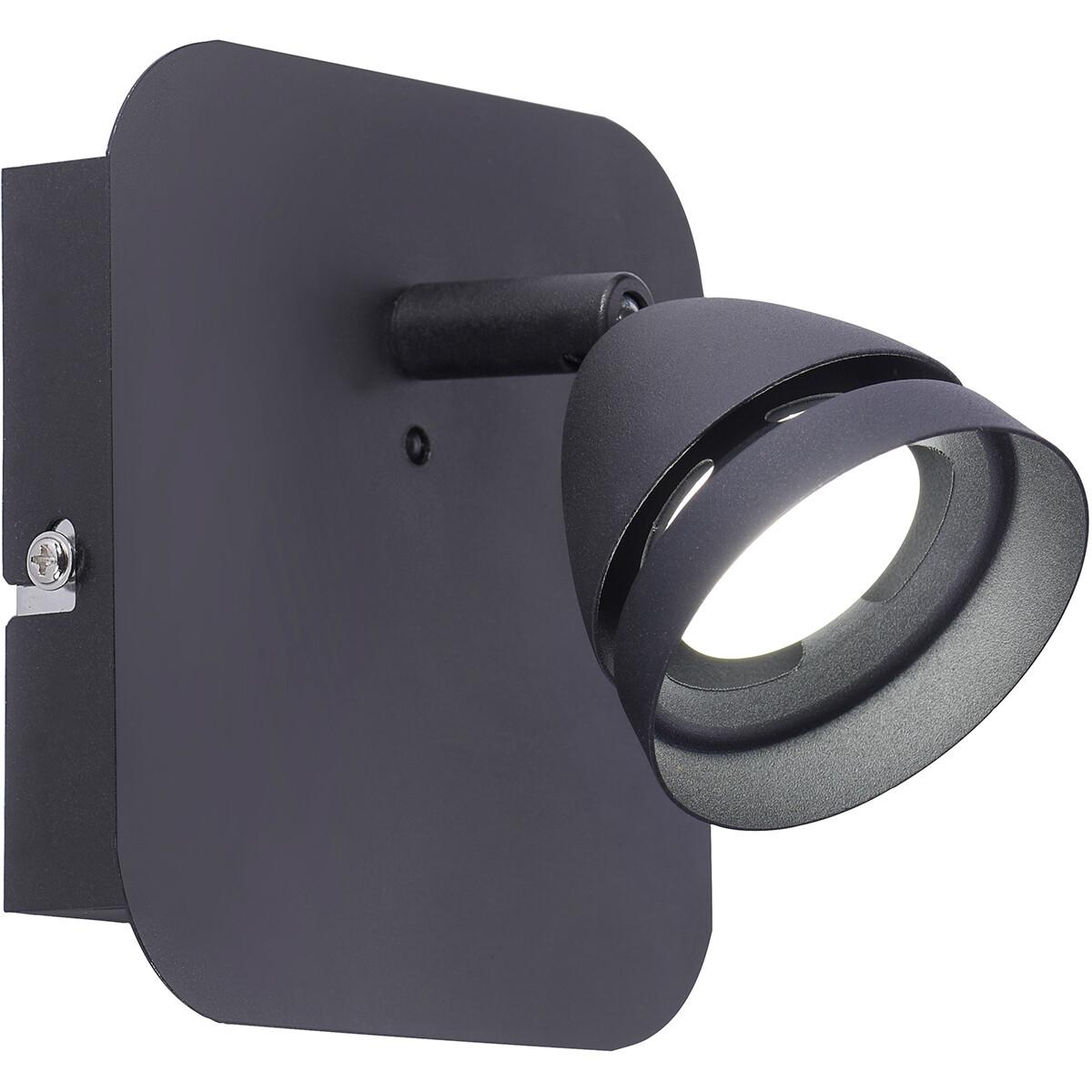 LED Wandspot - Trion Undy - 3W - Aanpasbare Kleur - Vierkant - Mat Zwart - Aluminium