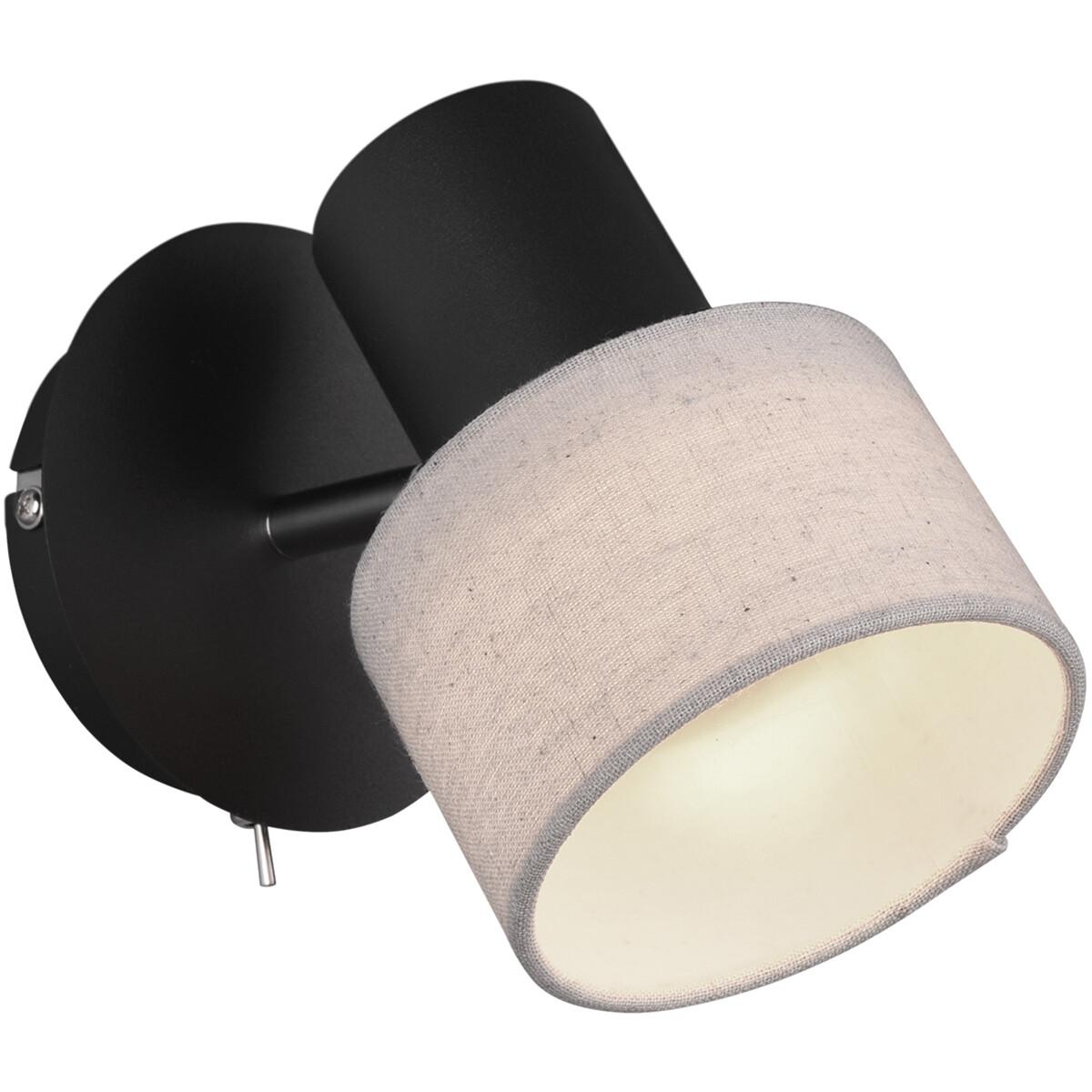 LED Wandspot - Trion Waler - GU10 Fitting - Rond - Mat Zwart - Aluminium