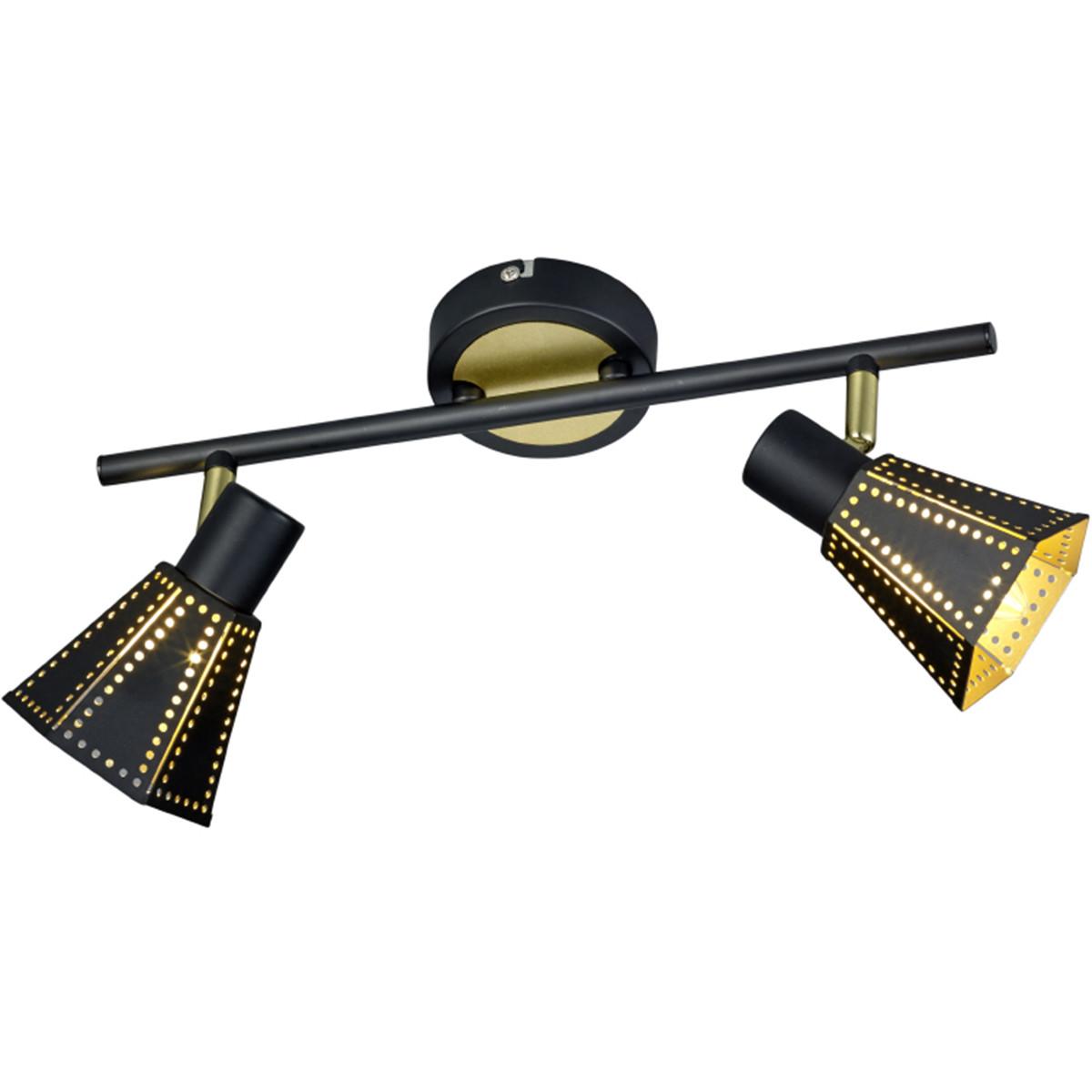 LED Wandspot - Wandverlichting - Trion Holmino - E14 Fitting - 2-lichts - Rond - Mat Zwart - Alumini