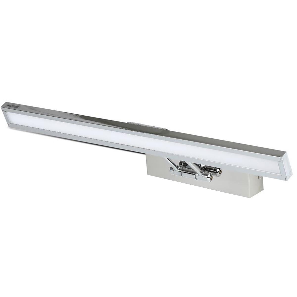 LED Spiegelverlichting - Schilderijverlichting - Viron Quala - 8W - Warm Wit 3000K - Mat Chroom - Al